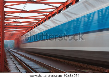 Abstract composition of moving train in the mist