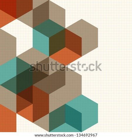 Abstract cubes background for design. Raster version