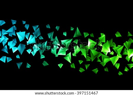 Abstract 3d Chaotic Particles Blue Green Stock Vector 364243385 ...