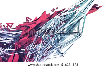 Abstract 3d rendering of chaotic plexus surface. Contemporary background with futuristic polygonal shape. Distorted low poly object with sharp lines.