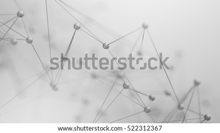 Abstract 3d rendering of chaotic structure. Plexus background with lines and polygonal spheres in empty space. Futuristic shape. Network concept. Modern design for banner, poster, placard.