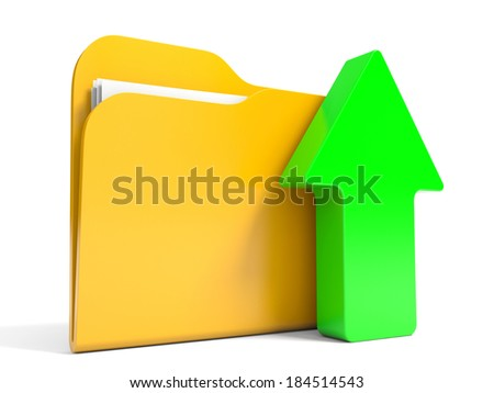 Abstract 3D upload folder on white background. 3D illustration.