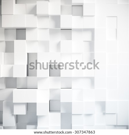 Abstract design from white blocks background