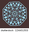 Abstract design in indian style with paisleys in brown and blue colors, raster illustration.See vector version in my portfolio. - stock photo