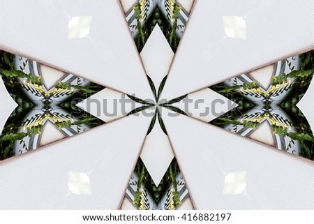 abstract design in various shades of white, green and yellow  colors