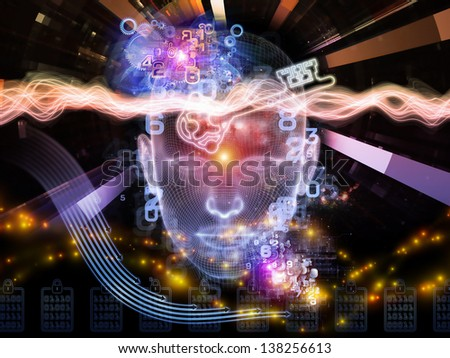 Abstract design made of human head, key symbol and fractal design elements on the subject of encryption, security, digital communications, science and technology