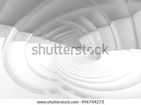 Abstract digital background, intersected white bent vortex structures, 3d illustration