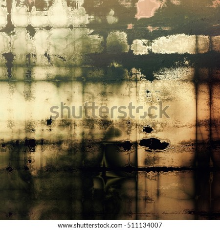 Abstract dirty texture or grungy background. With old style decorative elements and different color patterns: yellow (beige); brown; gray; green; black; white