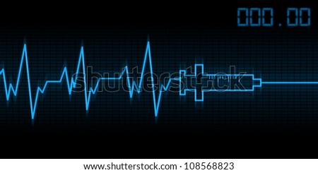 abstract drug addictive heartbeat and syringe illustration