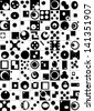 Abstract elements built in the square, black and white, in the squares - stock vector