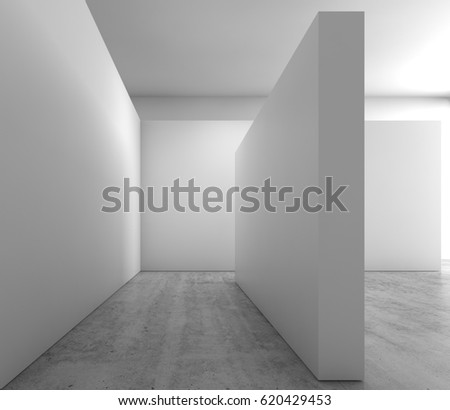 abstract empty interior background blank white walls installation on concrete floor contemporary architecture design