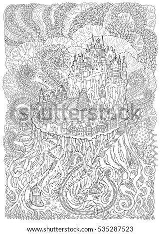 Abstract Fantasy Landscape Fairy Tale Medieval Castle On A