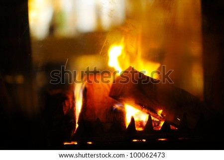 abstract fireplace flame background at home
