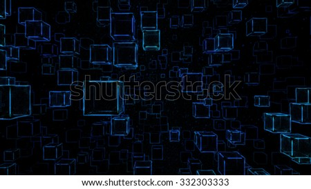 Abstract Floating Cubes Sketch Illustration - Blue