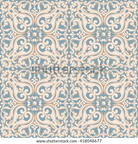 Abstract floral pattern in pastel blue, beige colors. Raster copy illustration.