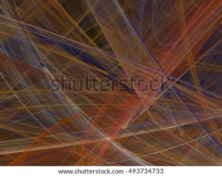 Abstract fractal with colorful curved lines and waves on a black background
