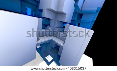 abstract geometric composition 3d illustration