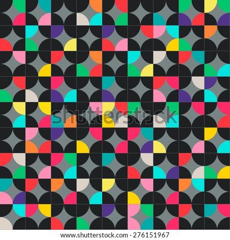 Abstract geometric seamless pattern with multicolored circles. raster version illustration can be copied without any seams.