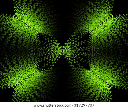 Abstract green lace pattern with radiating from the center of the petals on a black background.