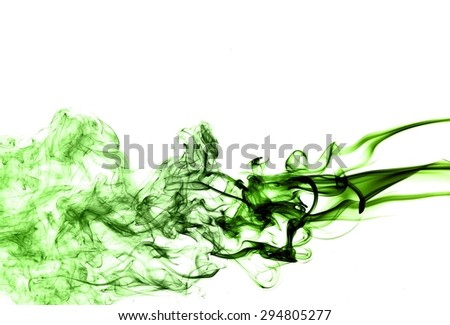 Abstract green smoke on white background, smoke background,green ink background,green, beautiful color smoke