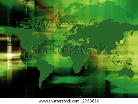 Abstract & greenish colored background with worldmap and internet terms.