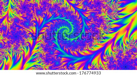 Abstract high resolution colorful background with a detailed spiral flower-like pattern in pink and blue and yellow colors