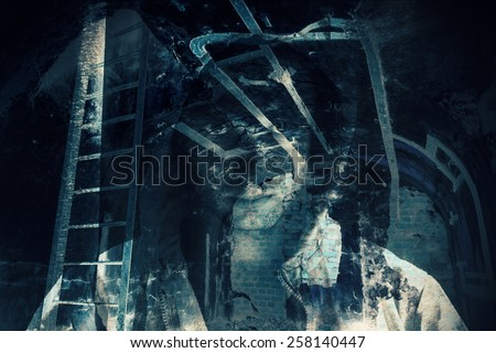 Abstract horror background, abandoned dark room with ghost of dangerous man in hood. Double exposure photo effect