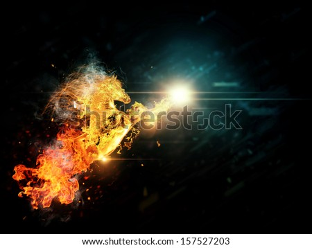 Abstract illustration of running horse in fire background.