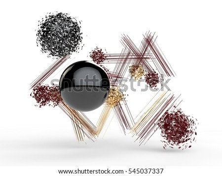 abstract image of the fragments of molecules and atoms red, black and gold colors, on a white background. 3D rendering