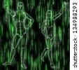 Abstract matrix green background with streaming code and humanoid. - stock photo