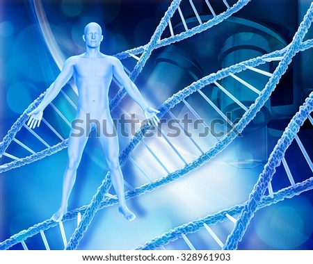 Abstract medical background with male figure, DNA strands and microscope