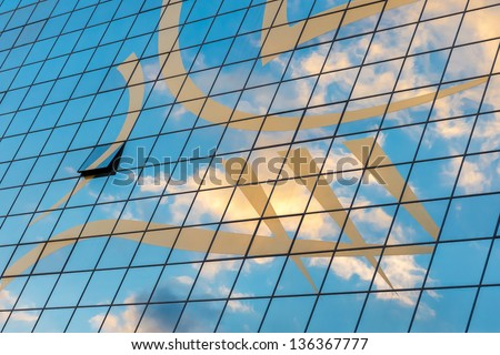 Abstract modern building detail background with sky color reflection