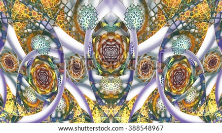 Abstract mosaic ornament with stylized flowers on white background. Symmetrical pattern. Fractal design in orange, yellow, green, violet and blue colors.