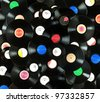Abstract music colorful background made of vintage vinyl records, isolated over white background, all labels designed by myself - stock photo