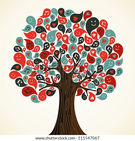 Abstract musical floral tree with icons.