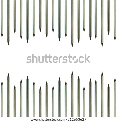 Abstract of metal nails isolated on white background
