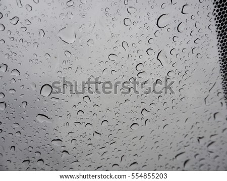 Abstract of water droplets on mirror with blurred  background.