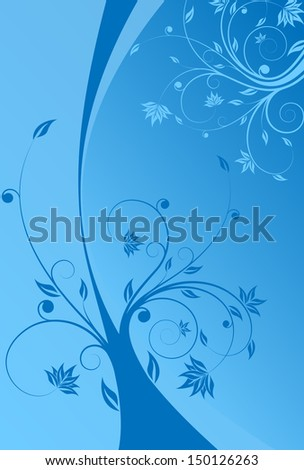 Abstract painted background with floral scroll in blue color