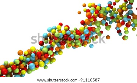 Abstract Particles Flow on white background. Abstract Background