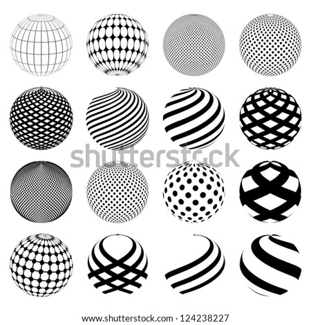 Abstract planet symbols. Sphere world globe. Isolated on white