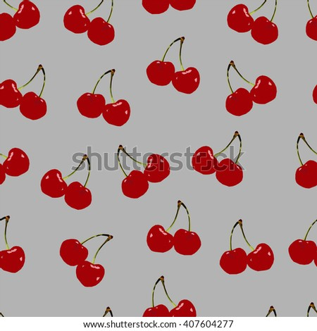 Abstract polygonal seamless pattern with red cherry, image with berry, summer illustration perfect for cover and interior design, geometric image, low fruit on the gray background