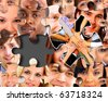 abstract puzzle-people background with one piece missing - stock photo