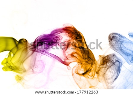 Abstract  rainbow color smoke on white