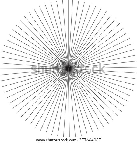 Abstract rays pattern, monochrome burst background. Simple geometric ornaments, circular patterns.