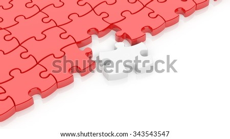 Abstract red puzzle pieces background  with one white and copy-space.