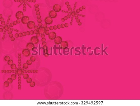 abstract red round gemstones shape snowflakes background