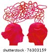 Abstract red silhouette of couple heads thinking, relationship concept - stock