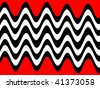 Abstract Retro Waves Background in Black and White on Red - stock vector