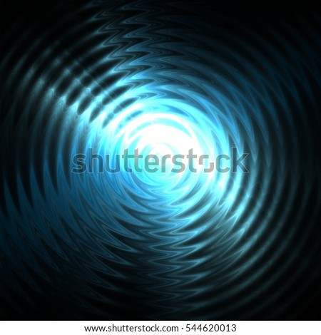 Abstract ripple in water with concentric circles. Droplet falling in water. Blue light