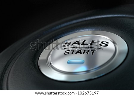 abstract sales start button, metal material, blue color and black textured background. Focus on the main word and blur effect. Sale concept